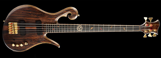 5 string Xylem bass with fall leaf fretboard inlays
