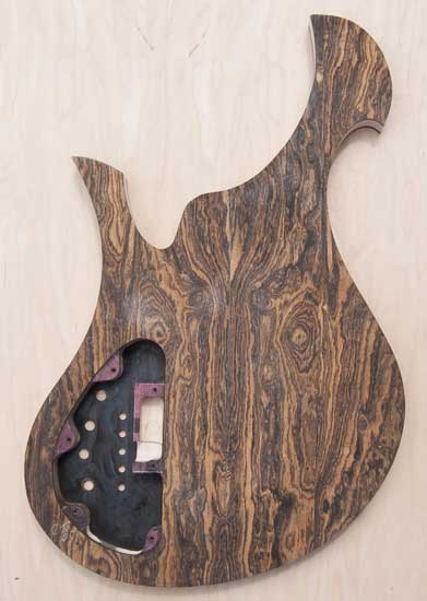 Xylem custom bass with bocote/wenge tops, purpleheart accent