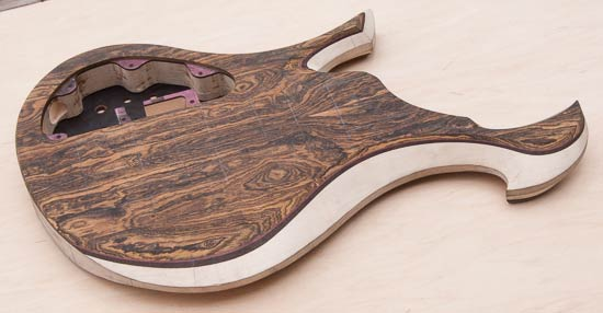 Xylem bass guitar with bocote top, maple core