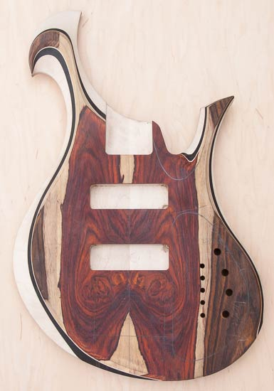 Custom bass body, cocobolo/ebony/maple