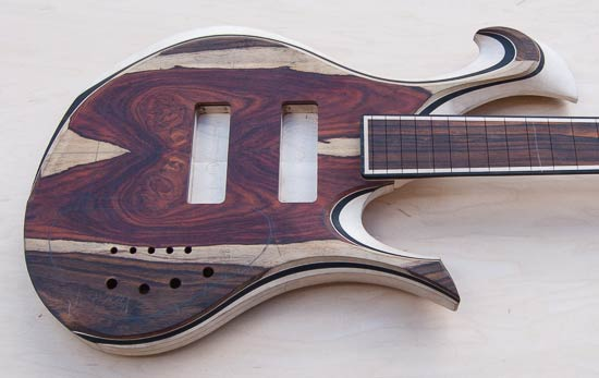 Xylem custom bass with cocobolo/ebony body