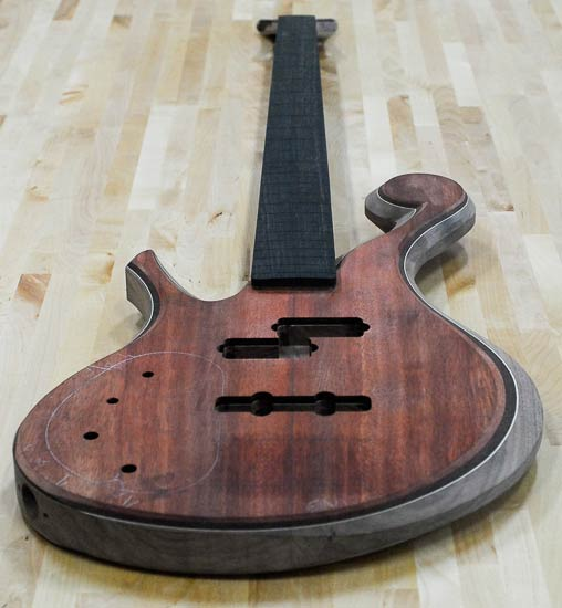 Lefty long scale bass guitar build with bloodwood top