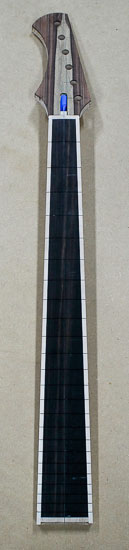Custom 6-string bass neck with ebony fretboard, rosewood headstock
