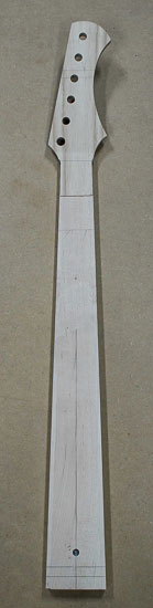 Maple bass neck with reverse-inline headstock