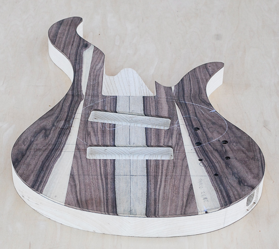 6-string bass guitar body before carving