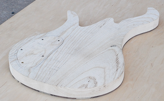 Swamp ash 6-string bass body before carving