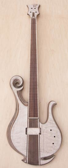 Custom bass with exotic scroll, quilted maple tops