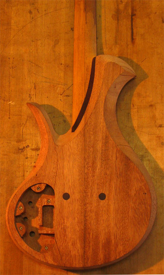 Neck joint on a single cutaway mahogany bass
