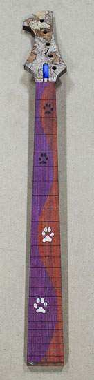 Custom bass neck with dog paw inlays