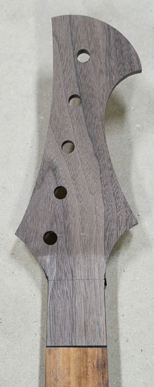 Reverse-inline headstock of a 5-string piccolo bass