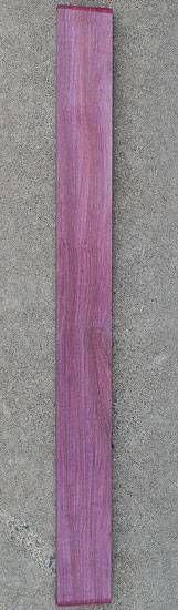 Purpleheart fretboard blank for a custom bass build