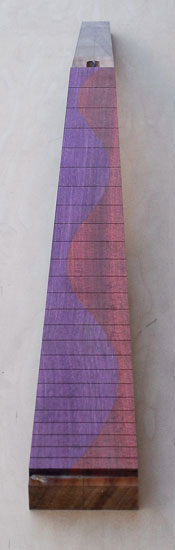 Spliced purplheart and bloodwood fretboard