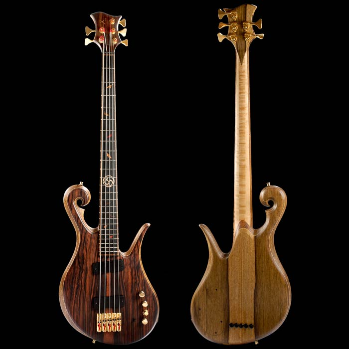 Front of the Xylem 5 string custom bass guitar with Hipshot hardware, Bartolini pickups and macassar ebony top