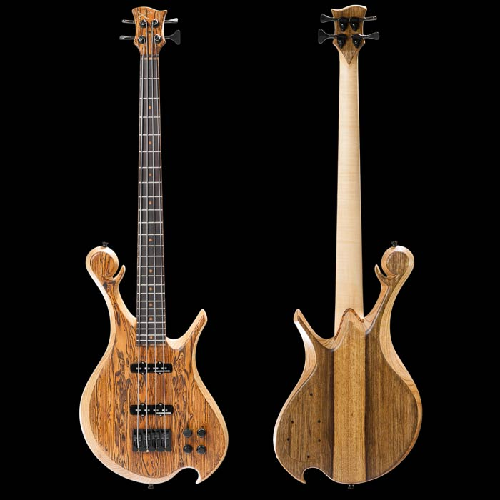 Short scale custom bass with ash body, bocote top, front and back