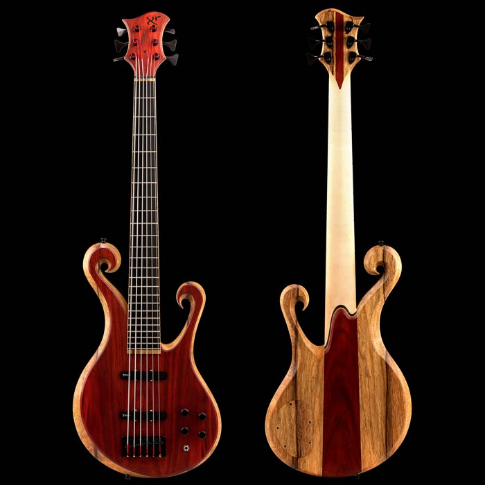 6 string custom bass with blood wood top and double scrolls