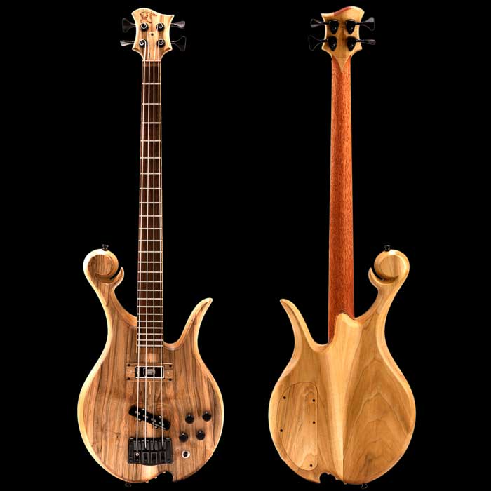 Xylem custom bass with spalted maple top, Rickenbacker neck pickup and Jazz bridge pickup