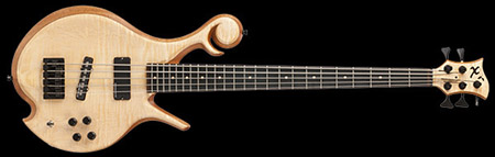Custom 5 string bass guitar with curly maple top