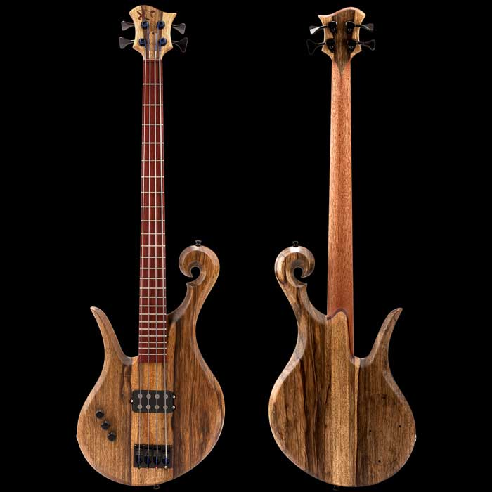 Left handed custom bass with black limba body, cocobolo fretboard and Nordstrand pickup