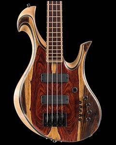 Custom bass with Hexpander MIDI interface, cocobolo/ebony tops