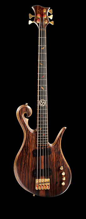 5 string custom bass with bird's eye maple neck