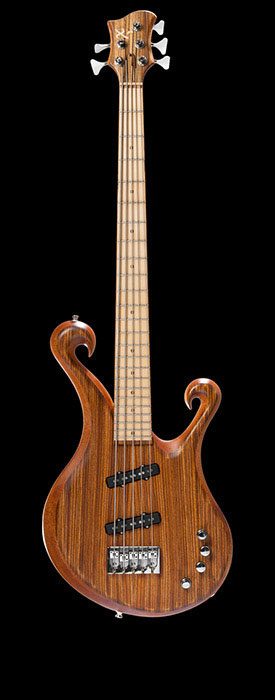 5 string bass with zebrawood top, mahogany core