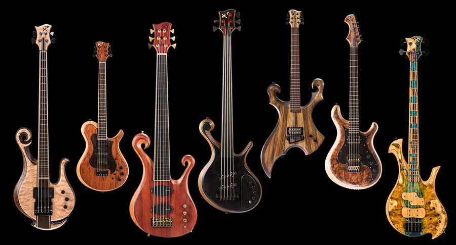 Custom basses and guitars, fretless, lefty and 6 string instruments