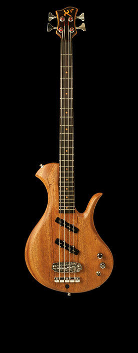 Single cutaway mahogany bass, short scale