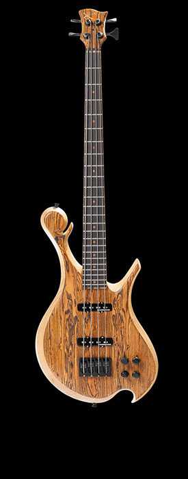 Short scale bass guitar with bocote top, ash body