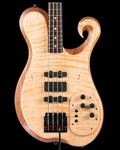 Custom bass w/ Kahler tremolo, three Bartolini pickups & exotic shape