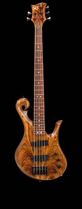 5 string custom bass, bocote/walnut body, Peruvian walnut/pau ferro fretboard