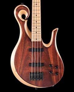 Bloodwood/maple bass guitar with Delano pickups