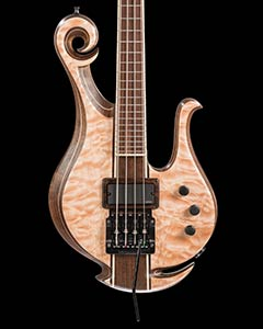 Custom bass with Kahler tremolo, EMG pickup, short scale