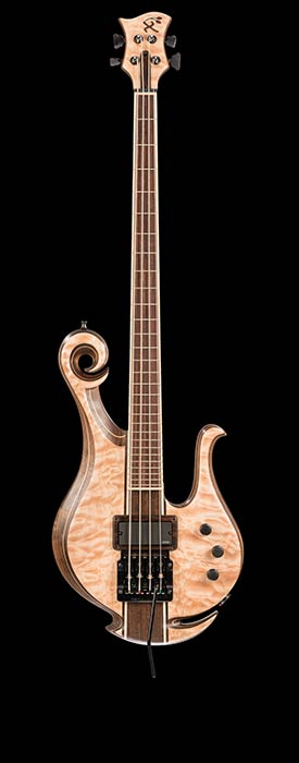 Short scale bass with Kahler tremolo, EMG pickup