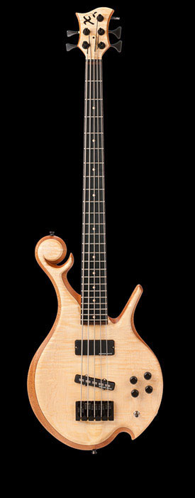 5 string custom bass with curly maple top, mahogany body