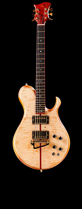 Single cutaway custom guitar of mahogany and maple