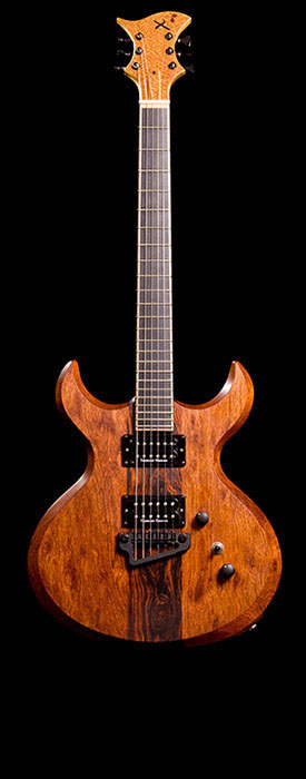 Xylem custom guitar of Brazilian cherry (jatoba) with an ebony fretboard, Seymour Duncan pickups and a Hipshot Baby Grand bridge