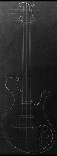 Design of a custom Xylem guitar with Xylem-signature scrolls on each horn