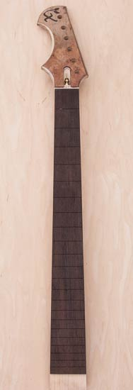 Custom guitar neck of maple and wenge