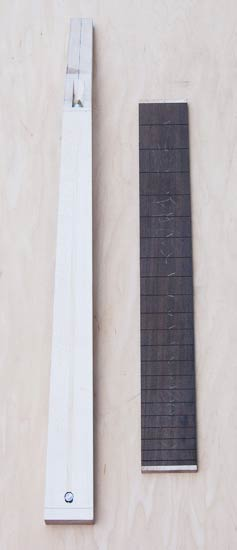 Guitar neck and fretboard blanks under construction