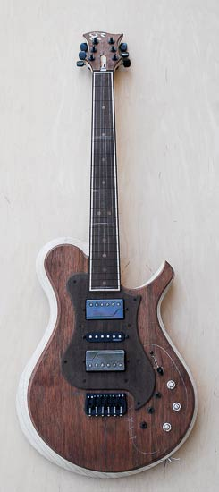 Xylem guitar with three Fishman Fluence pickups, HSH configuration