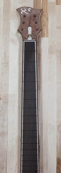 Custom electric guitar neck under construction