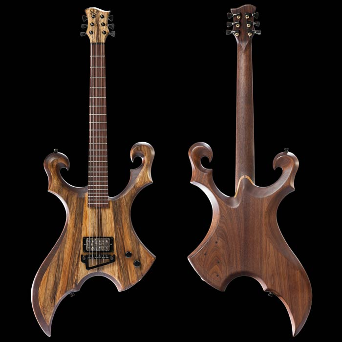 Walnut guitar with Bare Knuckle pickup and Baby Grand bridge
