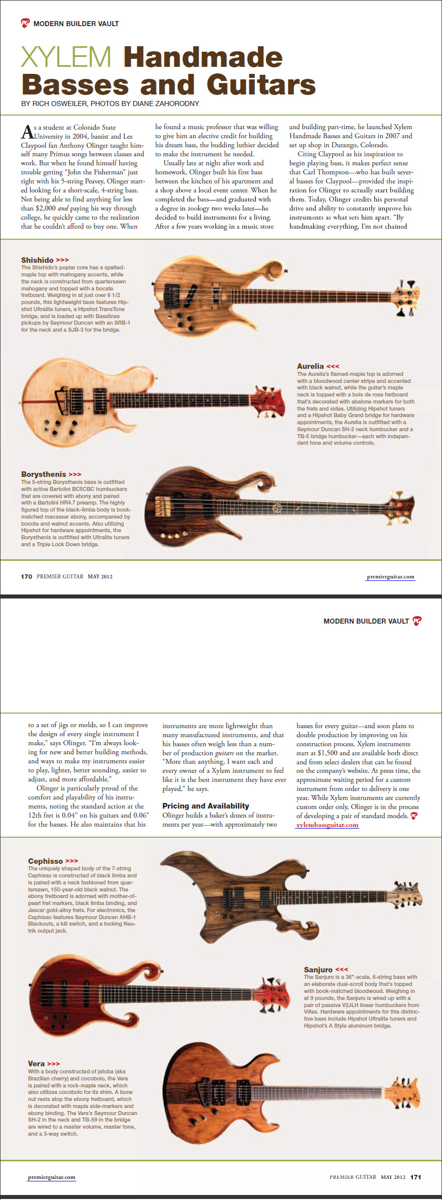 Premier Guitar Magazine article about Xylem Basses and Guitars