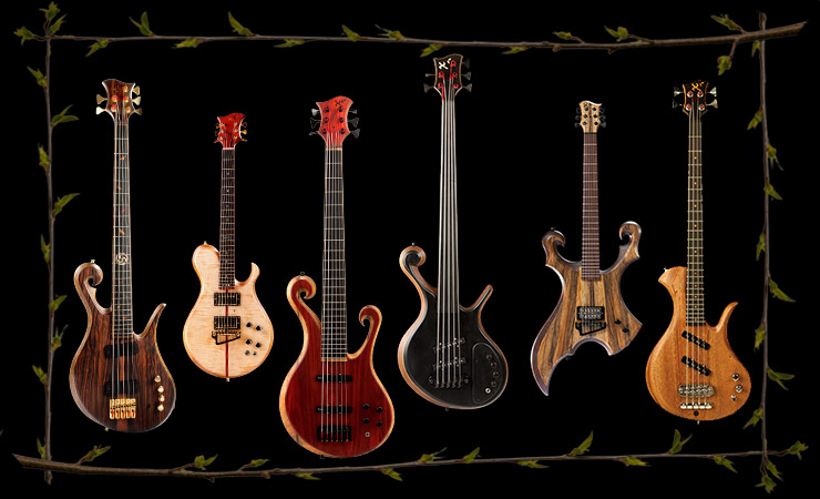 Custom basses and guitars including fretless, lefty and 6 string basses
