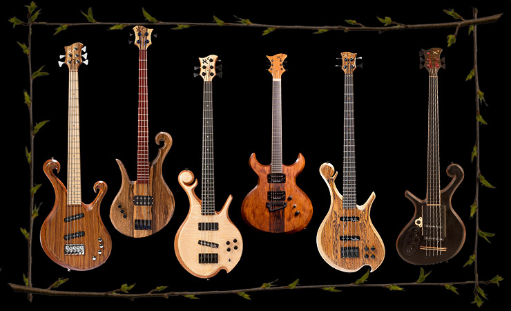 Custom instruments including a fretless bass, lefty bass and SG style guitar